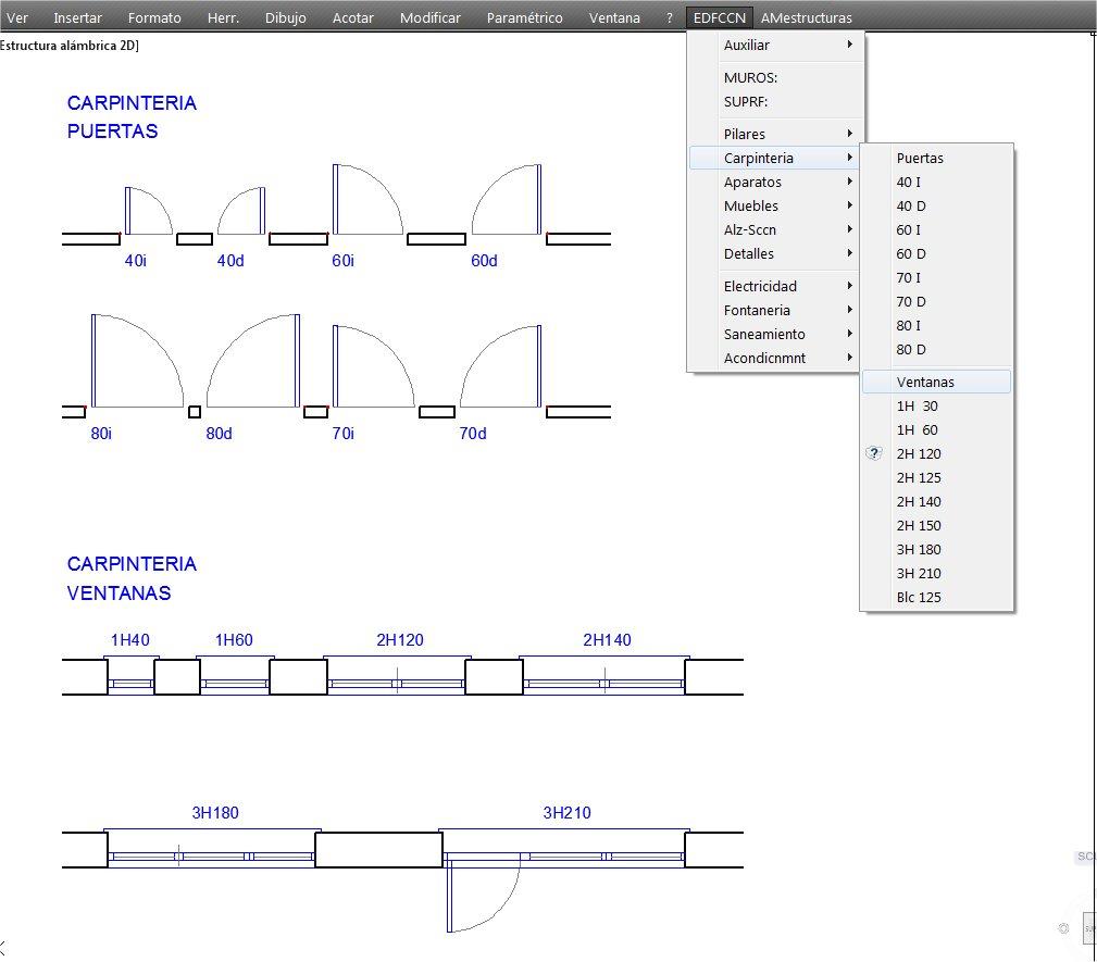 Bloques julio lvarez for Simbologia de puertas en planos arquitectonicos